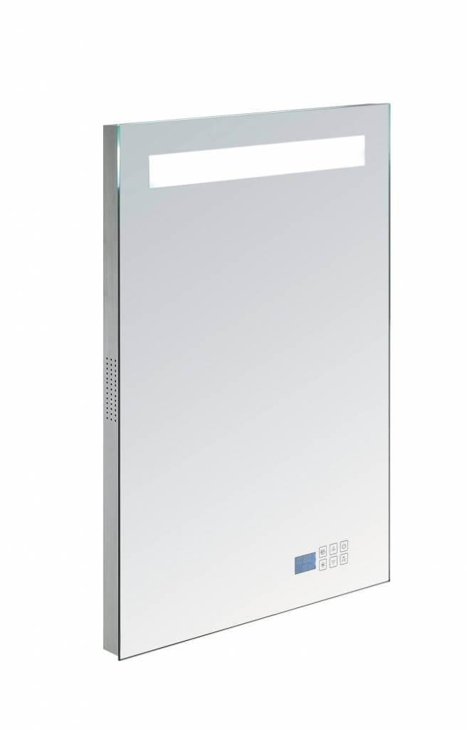 Aluminium spiegel met TL verlichting en radio 58 met ...