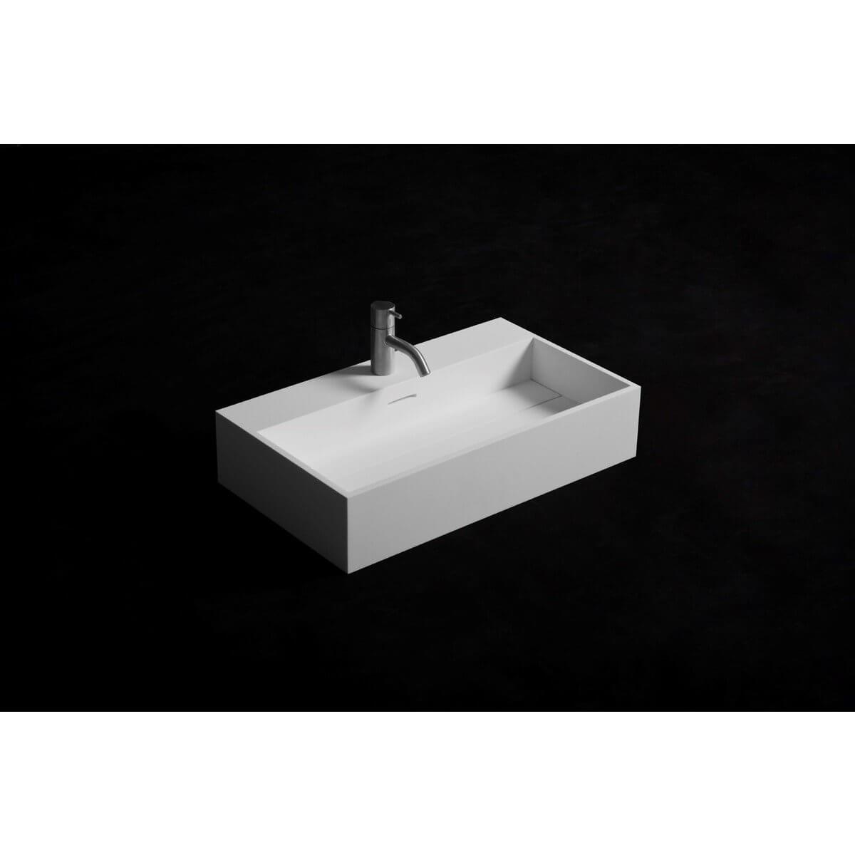 Wasbak Wit Rechthoekig.Ideavit Solidpure Wastafel Solidsurface Matwit 60x35x13cm Rechthoekig Mat Wit