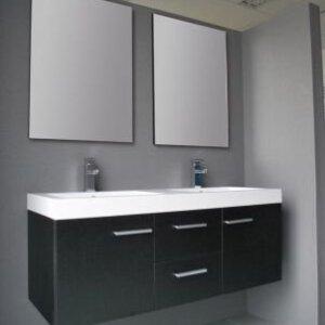 X-Line Badmeubel California 131 Cm Zwart Wengé Met Spiegels | Badmeubelsets