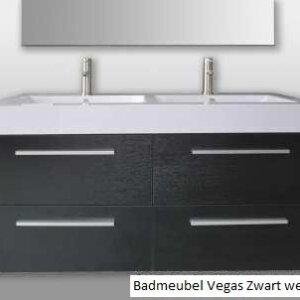 X-Line Badmeubel Vegas 120 Cm Zwart Wengé Met Spiegel | Badmeubelsets